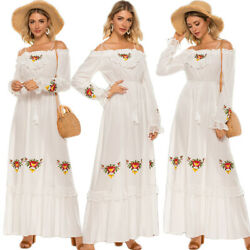 Women Off Shoulder Lace Long Dress Kaftan Embroidery Holiday Party Gown Sundress C $43.85