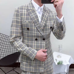 Smoking Plaid Men#x27;s Suit Double Breasted 2 Pieces Formal For Wedding Tuxedos New $46.85