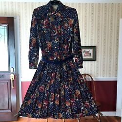 Vintage Schrader Dress blue burgundy floral long sleeve w belt modest Petite 8 $45.91