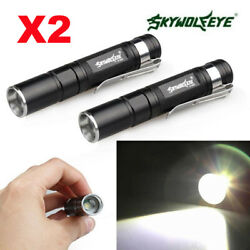 2PCS Zoomable Pocket Flashlight Torch Lamp Outdoor Cycling Mini LED Pen Light $10.47