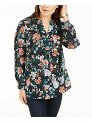 TOMMY HILFIGER Womens Green Floral Long Sleeve V Neck Top Size: XS $15.60