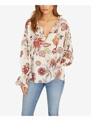 SANCTUARY Womens White Floral Long Sleeve V Neck Top Size: M $16.85