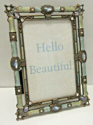 4X6quot; Antique Vintage Style Blue Brass Crystals Enamel Jeweled Picture Frame $22.79
