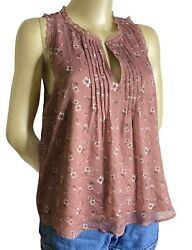 ABERCROMBIE amp; FITCH WOMENS S PINK MAROON MAUVE FLORAL SHORT SLEEVE BLOUSE SHIRT $12.99