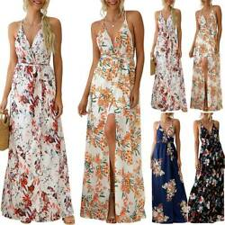 Women Sleeveless Backless Floral Long Dress Ladies Summer Beach Split Maxi Dress $20.80