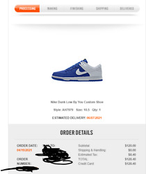 Nike Dunk Low By You Blue White Size 10.5 ORDER CONFIRMED $299.99