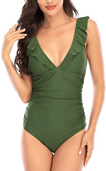 MH Zone Swimsuits for Women One Piece Bathing Suits Swimsuit Ruched Padded Tummy $30.99