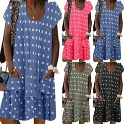 Womens Polka Dot Short Sleeve T Shirt Dress Ladies Loose Baggy Tunic Sun Dresses $20.61