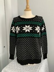 Zanzea Collection TRENDY Size Small Medium Black Fair Isle Print Black B $16.00