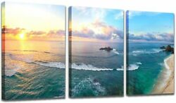 Nature Wall Paintings Beach Wall Decor Sea View Canvas Art for Bedroom Bathrooms $27.36