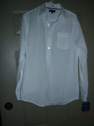 NWT CROFT amp; BARROW MENS TRENDY SIZE M WHITE CASUAL DRESS SHIRT $22.00