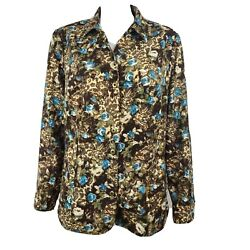 CJ BANKS Brown Blue Floral Long Sleeve Jacket Womens Plus Size 1X $19.99