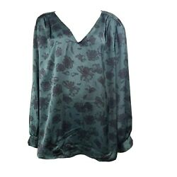 NWT AVA amp; VIV Green Black Floral Long Sleeve Top Womens Plus Size 4X $18.99
