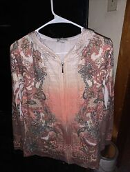 Women#x27;s Juniors Light Orange Floral Long Sleeved Hoodie Top Size Large Look 👀 $10.00