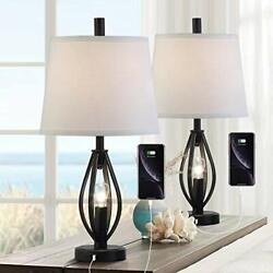 Modern Farmhouse Table Lamp Sets of 2 with 2 USB Ports Pulg in Industrial Night $154.60