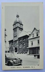 Rare Warren RI Rhode Island Town Hall Antique Cars RPPC Photo Postcard $34.00