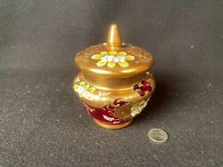 Antique Glass Hand Painted Flowers Red Gold Trim Vase Jar With Lid 5x4quot; $79.00