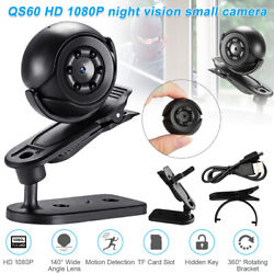 Night Vision Small Camera Indoor And Outdoor Wide Field QS60 HD 1080p charged $12.79