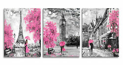 Black and White Art Eiffel Tower Wall Painting Big Ben Pictures for Living Room $32.98