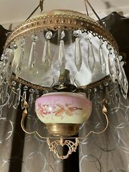 vintage handpainted copper brass restored hanging oil lamp floral glass shade $300.00