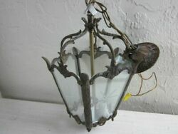 Vintage Chandelier Made In Spain Brass Ornate Three Light Ceiling 5 Glass Panels $325.00