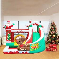 Christmas Kids Inflatable Bouncer House Air Blower Jumping Castle With Slide $241.99