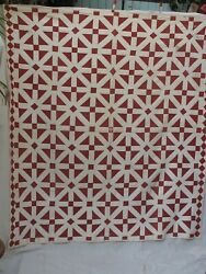 Antique Red And White Hand Sewn Quilt Early Fabric $225.00