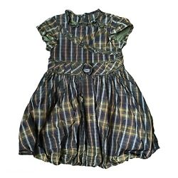 Lottum Designer Girls Bubble Dress plaided Green Size 6 EUR 116