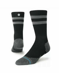 Stance Cycling Crew Socks Lightweight Men#x27;s Black with Gray Brand New $8.99