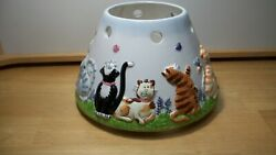 Kitty Cat Large Candle Jar Shade Topper EUC $30.00