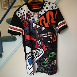 NEW Bass by Ron Bass Med. T shirt All over Art POST GAME Unique Designer Retro $45.00
