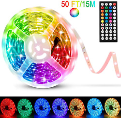 Eviswiy Christmas Led Strip Lights 50 Ft For Bedroom With Remote 44 Key Ir Smd C