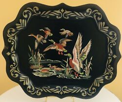 """Vintage Large Decor Tray Black Metal Painted Ducks 19"""" X 15"""" Wall Hanging Tray $16.99"""