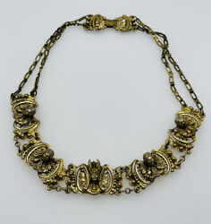 Rice Weiner Athennic Arts Antique Gold Plated Greek God Lady Necklace $495.00