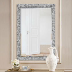 Bathroom Vanity Mirror Large Silver Mosaic Framed Wall Accent Living Bed Room $96.99