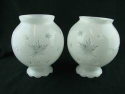 STUNNING PAIR OF CUT TO CLEAR MILK GLASS GAS LAMP CEILING SHADES 8.6CM FITTER GBP 110.00