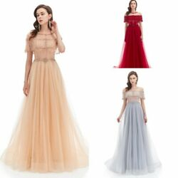 Beaded Tulle Long Formal Celebrity Carpet Dress Pageant Party Evening Ball Gowns