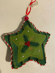 Plush Star Christmas Tree Ornament Holly New 4in tall $4.99