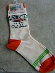 Blue Q Womens Novelty Crew Socks Size 5 10 quot; Ringmaster Of The Sh t Show NWT $9.99