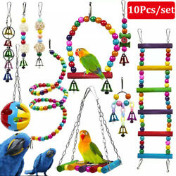 10 Pack Parrot Swing Bell Hanging Bird Cage Perch Toys Parakeet Cockatiel Budgie $19.90