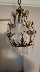 Small Bronze color Crystal Chandelier Lighting 1 Light with crystal Bag. TOLE $75.00