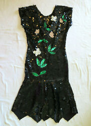 Vintage Black Sequin Cocktail Formal Dress White Flowers Sz S Bust 30quot; W 27quot;