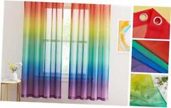 Ombre Sheer Curtains for Bedroom Girls Room Decor 2 Tone W55 x L72 Rainbow $39.53