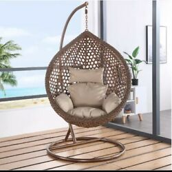 outdoor single seat rattan hanging egg swing chair $100.00