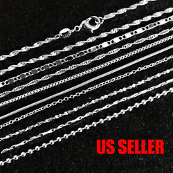925 Sterling Silver Plated 9 Styles Snake Chain Necklace 1mm 16quot; 18quot; 20quot; 22quot; 24quot; $3.96