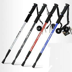 Trekking Walking Hiking Sticks Poles Alpenstock Anti shock 65 135cm Black $12.52