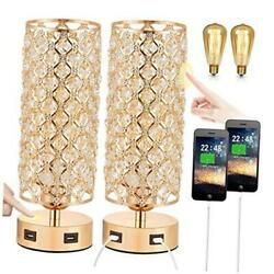 Touch Control USB Crystal Table Lamp Sets Dimmable Nightstand Lamp with Dual $74.34