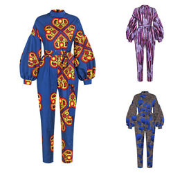 Womens Long Sleeve Printed Jumpsuit Party Evening Gown w Belt Summer Playsuit $31.39