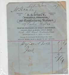 R. S. Stacy London 1871 Wholesale Commercial amp; Manf Stationer Receipt Ref 39934