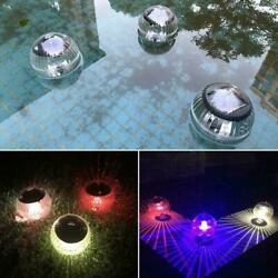 Colorful LED Round Water Floating Lamps Solar Lights E6B4 Garden Decor F V9H5 $10.73